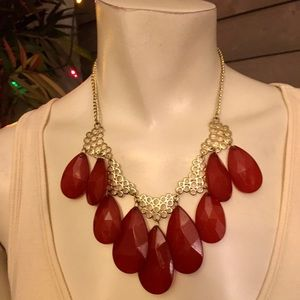 Red Faceted Lucite Beaded Statement Necklace